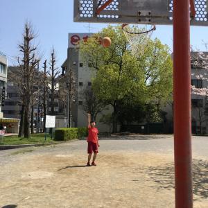 公園で息子とボール遊び
