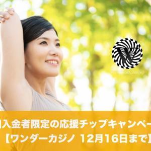 【12月16日まで】ワンダーカジノで初回入金者限定の応援チップキャンペーン!