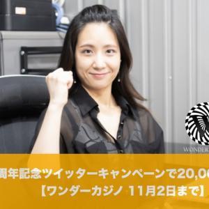 【11月2日まで】ワンダーカジノ3周年記念ツイッターキャンペーンで20,000ドル!