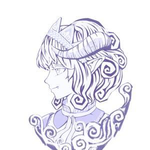 悪魔っ娘 肖像 (描き途中)