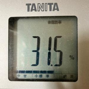 体脂肪率30%→25%!現在体脂肪率31.5%