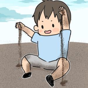 久々のお砂場(1歳7カ月)