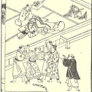 『絵入 世間胸算用』(「大晦日は一日千金」)井原西鶴 元禄5年(1692年)12 巻一 薙刀ハむかしの鞘 1  八丁ウ 絵