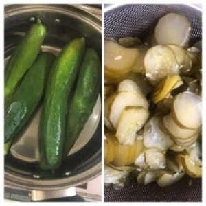 きゅうちゃん作り&採れた野菜