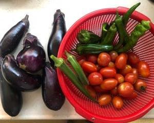 晩御飯と収穫した野菜