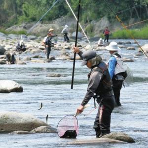 静岡・狩野川のアユ釣り「密」の状態を避け異例解禁
