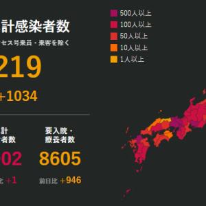 全国で新たに1034人の感染確認 1日1000人超は初