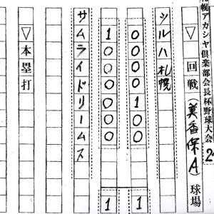 札幌アカシヤ倶楽部会長杯野球大会2020 9/24までの結果