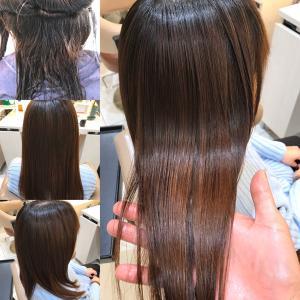 髪質改善(酸熱)トリートメントと縮毛矯正を同時施術した実例