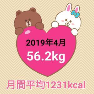 49日で3.2キロ減量【2019年4月】毎日の摂取カロリー&体重・体脂肪率