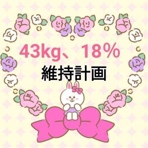 体重43kg台維持、体脂肪率18%台維持【計画&実行へ】