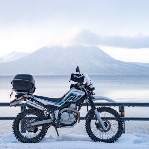 セロー積雪ツー 支笏湖と中山峠