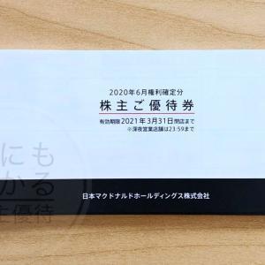 【日本マクドナルドHD(2702)】店舗で使えるバーガーやサイドメニューなどの引換券 株主優待到着(2020.6月末優待)