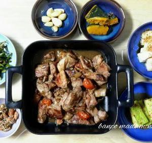 豚ステーキと セウジョッ(アミの塩辛)を使った野菜のおかず二種