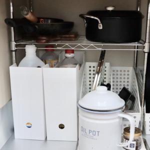 【古い流し台の下】ニトリのファイルケースでキッチン収納。