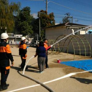 町の防災訓練に参加しました。
