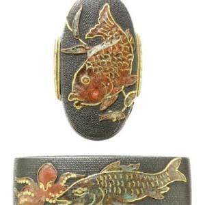 魚尽し図縁頭 七宝象嵌 Sippou Fuchigashira