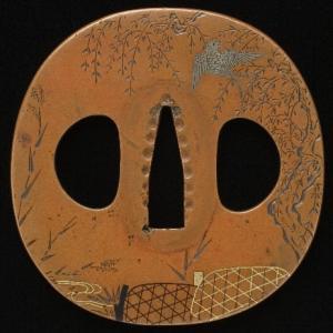 柳に燕図鐔 加賀金工 Kaga Tsuba