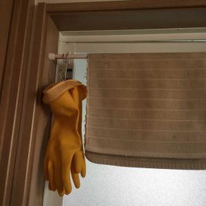 ゴム手袋の収納場所が決まって、気持ちスッキリ♫ダイソー、掛けられるピンチ