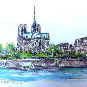 パリでよく描いたシテ島。。スケッチ
