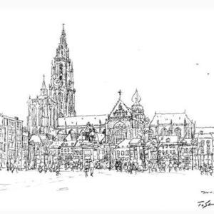 アントワープ大聖堂。世界わがスケッチの旅