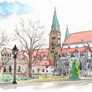 ロマンチック街道のスケッチ 2個の教会