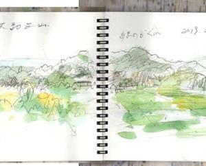 奈良の大和三山を平成最後の日にスケッチ