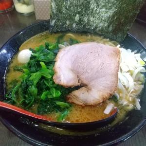 「源絆家」で醤油豚骨ラーメンほうれん草増しとライスを食べる。「壱六家」譲りのスープとコシのある麺との相性は抜群で良し!