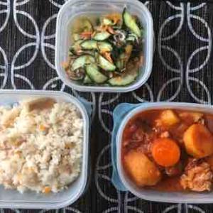 6月第3週 鶏のトマト煮 酢の物 干し筍の炊き込みご飯