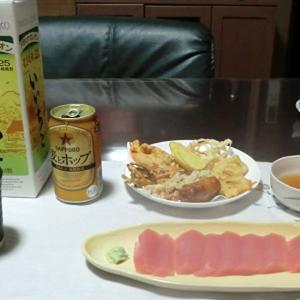 今日の晩ごはんは天ぷらとまぐろの刺身で一杯📷街角ぶらり旅11-19