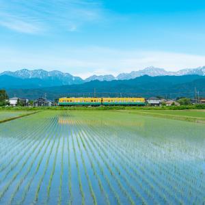 初夏の剱岳と地鉄電車