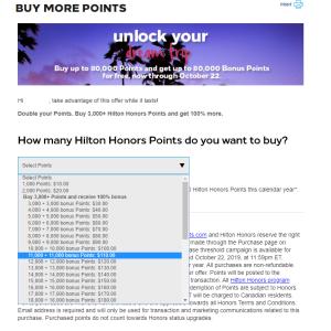 ヒルトン・オナーズポイントが再びセール中、今回は3000ポイント以上の購入で2倍のポイントをゲット!