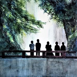 水彩画 「滝を観る」