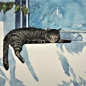 水彩画 「午睡のひととき」