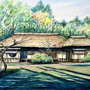 水彩画 「西山荘(常陸太田市)」