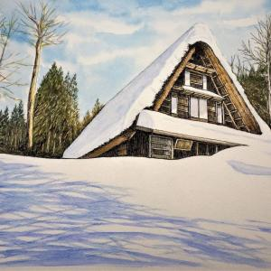 水彩画 「雪の平湯民族館」
