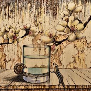 ウッドバーニング 「梅とシマリスとアンモナイト」