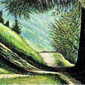 水彩画 「振り返る山道」