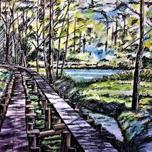 水彩画 「木道を行く」