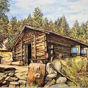 ウッドバーニング 「山小屋の朝」