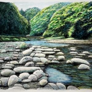 水彩画 「ゆるやかな流れ」