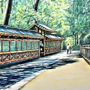 水彩画 「根津神社」