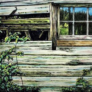 水彩画 「朽ちた山小屋」