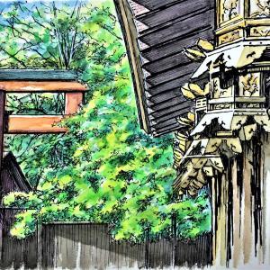 水彩画 「京都 下鴨神社」