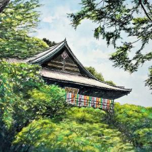 水彩画 「長谷寺 本堂(奈良)」