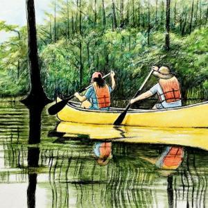 水彩画 「カヌーツーリング」