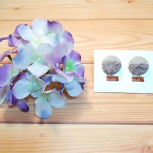 【新作】シンプルタイプのイヤリング ~紫陽花~