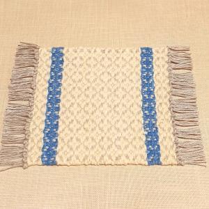 【新作】ふっくらした織り模様の手織りコースター