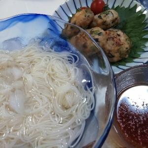 今年初素麺とエリンギの唐揚げの晩ご飯