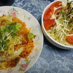 おうちごはん【汁なし担々麺とサラダ】新型肺炎が怖いので。